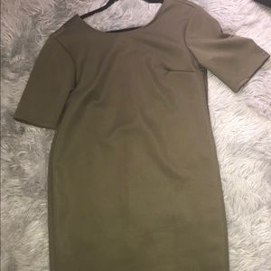 Army green dress with neon back zipper